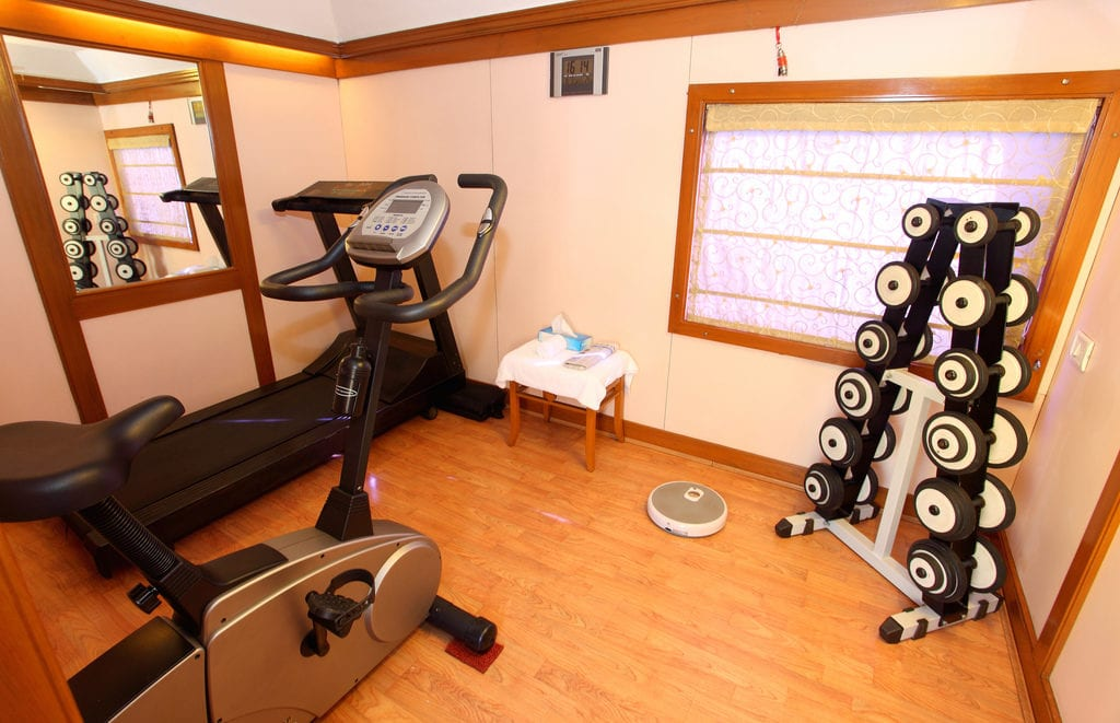 A wood floor basement home gym with free weights and exercise machines.