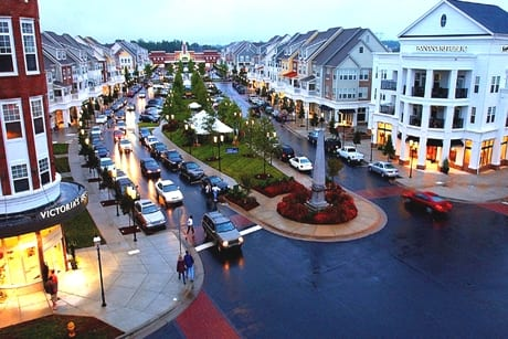 A scenic sky view of one of Huntersville, North Carolina main roads with traffic